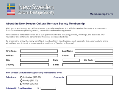 New Sweden Membership Form
